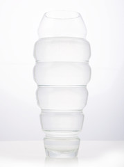 High glass transparent flower pot vase on white background