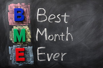 Acronym of BME for Best Month Ever