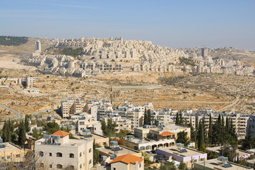View of Har Homa (Hebrew illegal settlement) from Bethlehem 2010