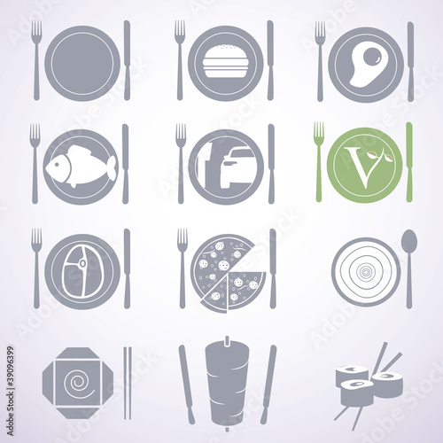 Set of stylish food signs for different types of restaurants