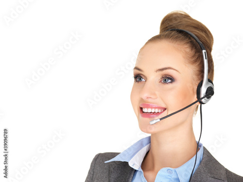Pretty female businesswoman talking headset