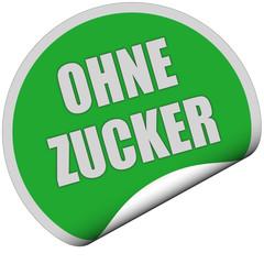 Sticker grün rund curl unten OHNE ZUCKER