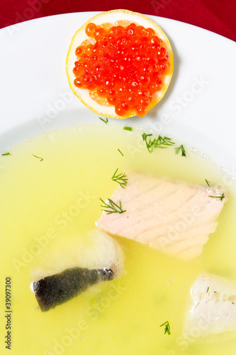 Fish soup with lemon and caviar