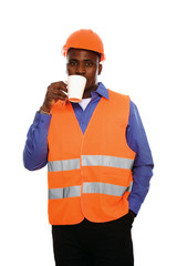 Black man with cup, isolated on white background