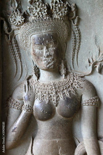 Apsara carving on wall of Angkor Wat