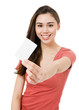 Attractive Young Woman with Blank Credit Card.Focus on face