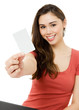 Young woman with empty credit card