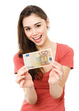 Young woman with 50 euro banknote