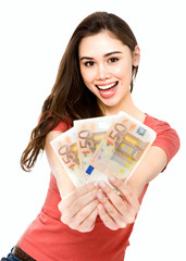 Young woman with euro money