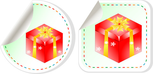 gift boxes stickers set over white background