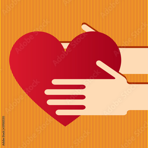 Illustration of hands with heart