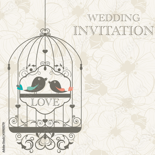 Foto op Aluminium Vogels in kooien Wedding invitation