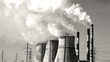 thermal power plant, smoke, black and white, time-lapse