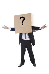 Businessman covered with a question mark symbol