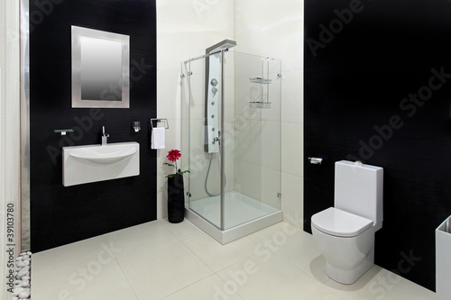 Black white bathroom