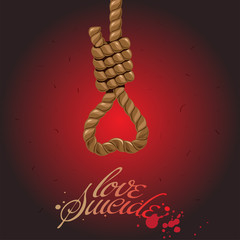 Gallows in a heart on red background, vector illustration.