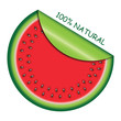 Icon watermelon slice with  with rolled corner. Vector illustrat
