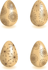 Set of four Easter eggs with floral ornament.