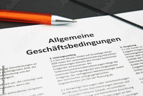 Leinwanddruck Bild AGB oranger Kuli