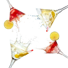 Set of martini cocktails with splash and lime isolated