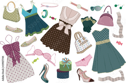 various women's clothing shoes and accessories in polka-dots