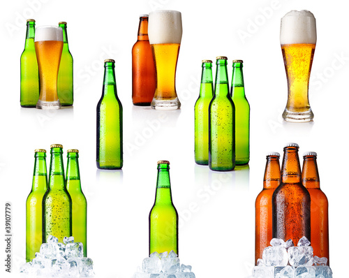 Set of bottles with beer and ice isolated on white