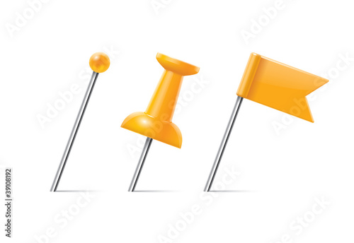 yellow pushpin set
