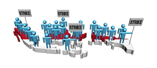 workers on strike on Indonesia map flag illustration