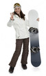 Woman Holding Snowboard on White