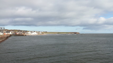 town of Arbroath and Seaton cliffs Scotland