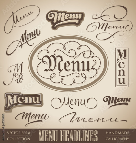vector set: menu headlines, handmade calligraphy (eps8)