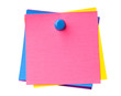 Stack of colorful sticky notes pinned together isolated