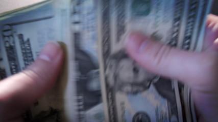 Counting Money in Hands American Twenty Dollar Bills
