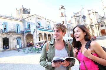 Tourists couple travel in Havana, Cuba