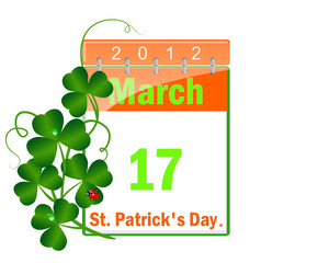 Icon of a calendar of day St Patrick and leaves of a clover.