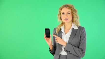 Smiling businesswoman giving service telephone number
