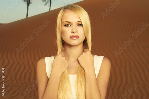 Woman and desert. UAE