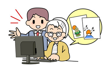 PC of the elderly person New Year's card
