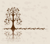 Openwork tree on vintage background poster