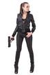 Fashionable woman with a gun