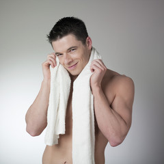 man enjoying a soft fragranced towel