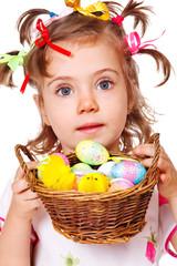 Girl holding  Easter eggs