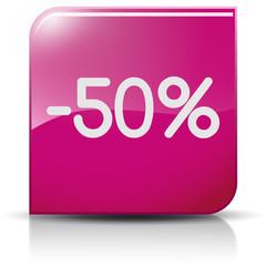 Symbole glossy vectoriel soldes promo -50%