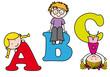 Niños aprendiendo las letras