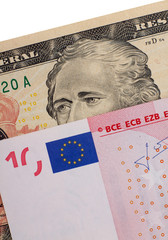 Euro and dollar banknotes money