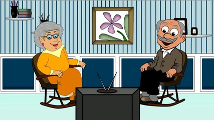 Senioren beim Fernsehabend