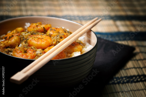Curry Prawns with rice - Caribbean Tasy food