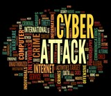 Cyber attack concept in word tag cloud on black background