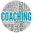 Coaching concept in tag cloud on white