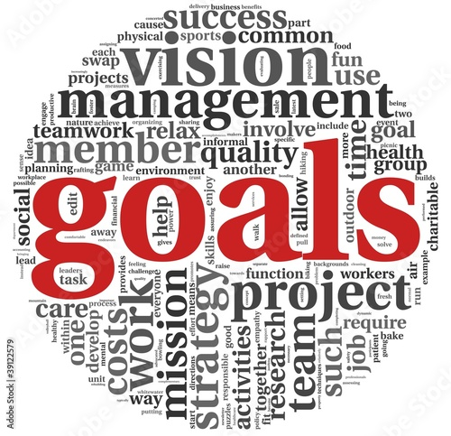 Goals concept in word tag cloud